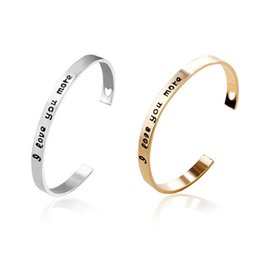 "Wholesale Engraved Bracelets Men - Lovers Open Bangle Heart Cut Off Engraved ""I Love You More"" Cuff Bangle Fashion Bracelet For Women Men"