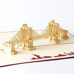 Wholesale Wholesale Handmade Wedding Invitation Cards - 10pcs lot 3D Brooklyn Bridge Greeting&Gift Birthday Cards Handmade Paper Art Carving 3D Pop UP Card Wedding Invitations