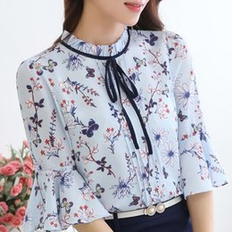Wholesale Blusas Moda - Chiffon Blouse 2017 Summer Flare Sleeve Floral Women Shirts Tops Blusas Mujer De Moda Camisetas Camisa Feminina Blue Pink Beige