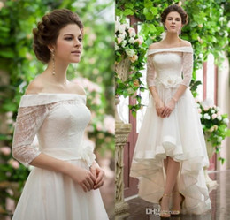 Wholesale Cheap Beautiful Long Sleeve Dress - High Low Dress Formal Wedding Gown Off Shoulder Neck Vintage Design Lace Dress Beautiful High Quality Bridal Gown Modest Design Cheap
