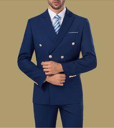 Wholesale Cool Slim Men Blazer - Wholesale- Fashion Cool Tuxedos Custome Homme Terno Slim Blazer Peaked Lapel Double Breasted Men Suits(Jacket+Pant+Tie+Handkerchiefs+Vest)