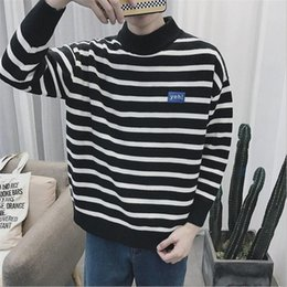 Wholesale Mens Cardigan Sweaters Xl Black - Mens Knitted Striped Sweater Men Casual Outwear Coarse Wool Pullovers Homme Black White Vintage Fashion Oversized Sweaters Man