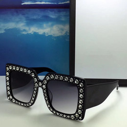 Wholesale Rectangle Diamonds - 0145S Luxury Brand Sunglasses 0145 Large Frame Elegant Special Designer With Diamond Frame Built-In Circular Lens Top Quality Come With Case