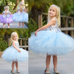 Wholesale Big White Tutu - Tutu Tulle Flower Girls Dresses For Weddings Sequined Big Bow Knee Length Toddler Pageant Dress Children Hollow Back First Communion Dress