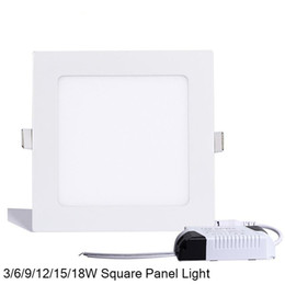 Wholesale Led Square Recessed Ceiling Lights - Dimmable Square Led Panel Light SMD 2835 3W 9W 12W 15W 18W 21W 25W 110-240V Led Ceiling Recessed down lamp SMD2835 downlight + driver