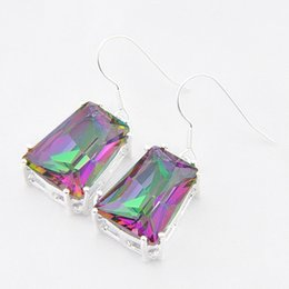Wholesale Rainbow Silver Crystal Earrings - Luckyshine Christmas Day Two pieces lot 925 silver plated Simple Design rainbow crystal earrings for lady party gift E403