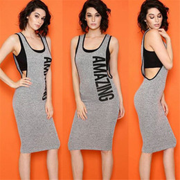 Wholesale Summer Women Jumpers - Women Casual Midi Dresses Scoop Neck Sheath Sleeveless Knee Length Casual Dresses Jumper Skirt Plain Casual Dresses