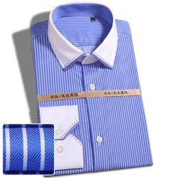 Wholesale Men S Clothing Formal Dress - Wholesale- Fashion 2017 100% Cotton Striped no need iron slim fit striped print twill business men dress shirts party formal male clothes