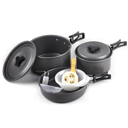 lager kochtopf Rabatt Outdoor 2-3 Personen eloxiertem Aluminium Kochutensilien Picknick Pot Pan Bowl Camping Kochgeschirr für Camping Wandern Backpacking