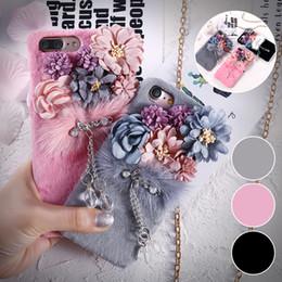 Wholesale Mink Fur Flowers - 3D Girls Plush Fur Flower Back Case Luxury Plush Mink Fur Furry Women PC Cases For iPhone 7 Plus 6 6s Plus Crystal Pendant Cover