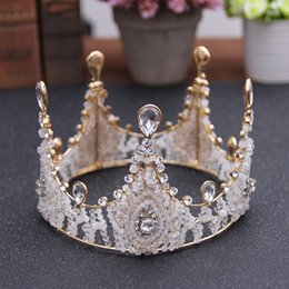 Wholesale Crowns Pageants Beauty - Gorgeous Vintage Crystals Pearl Luxurious Wedding Crown 2017 Big Fashion Beauty Pageant Tiaras Bridal Headpieces