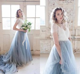 Wholesale Dusty Pink Tulle - 2017 Chic Garden Beach Wedding Dresses Dusty Tulle Train Ivory Lace Skirt Short Sleeve Chapel Train Cheap Sheer Bohemia Wedding Bridal Gowns