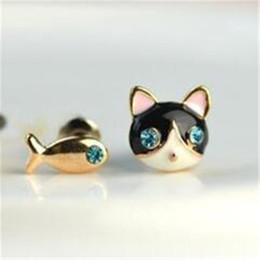 c8c19577135b pequeños pendientes de gato Rebajas Pendientes del perno prisionero del  gato para las mujeres Accesorios del