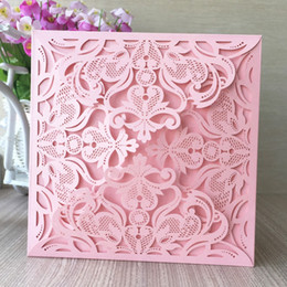 Wholesale Pearl Wedding Invitation Cards - Wholesale- 12pcs lot pink color 250g pearl paper 23 colors four folds laser cut carving flowers wedding invitation cards party decoration
