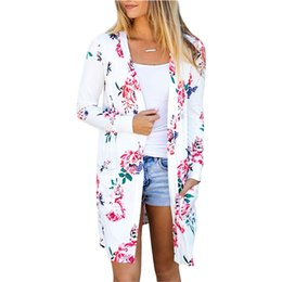 Wholesale Modest Pink Dress - 2017 New Fashion Fall Winter Women Floral Print Long Sleeve Cardigans With Pocket Modest Long Dress ZL3452 S-2XL