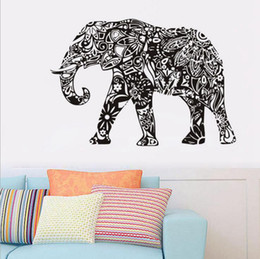 Wholesale Elephants Wall Decor - Elephant Wall Stickers Removable Black PVC Wall Decal Home Decor Living Room Wall Art Stickers OOA1765