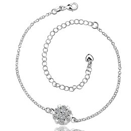 Wholesale Sports Body Jewelry - Summer Style Fashion Silver Ankle Foot Jewelry Crystal Rose Charms Anklets Body Leg Chain For Women