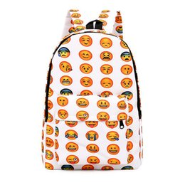 Wholesale Dresses For Teenagers - Emoji Backpack Pretty Style Women Canvas Backpacks Emoji Face Printing School Bag For Teenagers Girls Mochila Feminina
