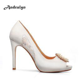 Wholesale Sexy Original Dress - Andralyn Hand-made women high heels dress shoes,sexy peep toe bling original women wedding party pumps size 35-41 H1009