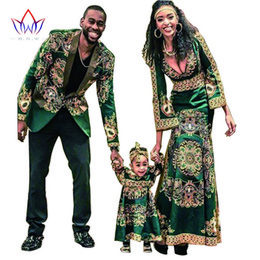 Wholesale Women Dresses Blazers - Wholesale- Women African Clothing Bazin Riche Dashiki for kids Men Blazers Long Sleeve Maxi Dress Plus Size African Clothing BRW WYQ15