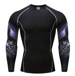 Wholesale Crossfit Pink - Mens Compression Shirts Bodybuilding Skin Tight Long Sleeves Jerseys Clothings Crossfit Exercise Workout Fitness Sportswear