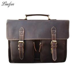 "Wholesale Genuine Crocodile Handbag Man - Wholesale- Men's Crazy horse Leather briefcase Brown 15"" laptop genuine leather handbag Cow leather business bag Work tote PC shoulder bag"