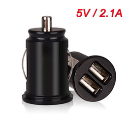 Wholesale Gps Car Protection - Universal Dual USB Phone Charger For iPad iPhone 5V 2.1A Mini Adapter Short Circuit Protection Car Chargers for GPS MP3