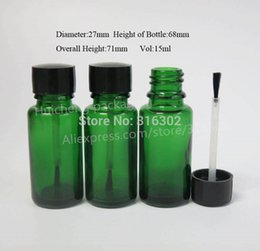 Wholesale Nail Polish Brush Cap - 200 lot 15ml Empty Green Glass Essential Oil Bottle with Brush Cap,Essential Oil bottle,15ml Nail Polish Bottle