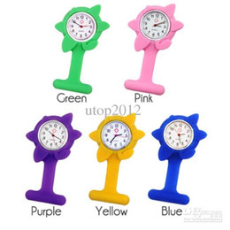 Wholesale Choice Silicone Watch - 100pcs Hot ! New Soft Sun Flower Silicone Nurse Watch Good Quality Poket Watch Wholesale 11colors choice Free Shipping Via DHL