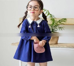 Wholesale Comfortable Baby Girl Clothes - Children Autumn dress baby girls pure color tassel lapel dress kids pleated comfortable princess dress Girls clothing C1400