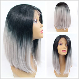 Wholesale Gray African American Wigs - African American short bob hair wigs heat resistant synthetic short bob hair ombre gray short haircut glueless lace front wig
