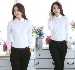 Wholesale Women S Office Wear Wholesale - Blouses Shirts Women White Shirt Office Lady OL work wear Long Sleeve Tops Slim Women's Blouses Shirts S-4XL Plus Size casual blusas bl