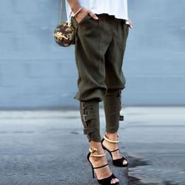 Wholesale Cargo Bottoms - Plus Size Chic Bandage Belt Criss-Cross Cargo Pants Women Ankle-Length Low Waist Elastic Fashion Pants Pocket Button Zipper Female Bottoms