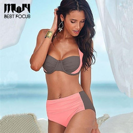 Wholesale Sexy Girls Bikini Suit - MLJY Hot Girls Sexy Bikinis Women Swimwear 2017 Summer Beach Wear Push Up Swimsuit Bikini Set Bandage Bathing Suit Color Block