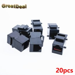 Wholesale Ide Adapters - Wholesale- 20x Cat5 Cat5e RJ45 Connector Plug Socket RJ45 Network Cable Blank Panel Patch RJ45 Extender Plug Joiner Coupler Adapter HY445