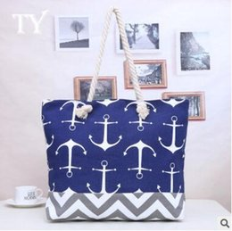 Wholesale Wholesale Two Tone Canvas - Women Bag Large Capacity Handbags Large Capacity Canvas Tote Bags Navy Style Patchwork Beach Bag Anchor Printed Big Totes DHL Free Shipping