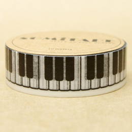 Wholesale Piano Photos - Wholesale- 2016 High Quality Piano Keyboard Washi Paper Masking Tape Cartoon Washi Tapes Scrapbooking DIY Sticker Diary Deco Photo Stickers
