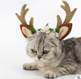 Wholesale Christmas Dog Hair Accessories - Pet Supplies Dog Cat Christmas Reindeer Hairband Headband Accessories Antlers Pet Headband Cosplay Party Elk Headgear Dog Decorations
