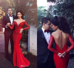 Wholesale Trumpet Sleeve Crochet Dress - Vintage Crocheted Lace Evening Fomral Pageant Dresses 2017 Modest Red Sheer Neck Dubai Arabic Long Sleeve Mermaid Occasion Prom Gowns
