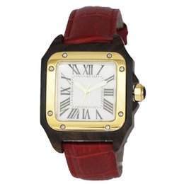 Wholesale Wood Man Japan - Latest Casual Style Japan Quartz Movement Wooden Luxury Men Wrist Watch Leather Band Square Wood Dial Plate Gold Plated Smart Couple Watches