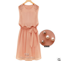 Wholesale Korean Chiffon Mini Dress - 2016 Korean Summer Slim Temperament Sleeveless Dress Chiffon Spring WDA0059