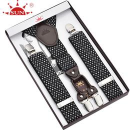 Wholesale Leather Suspenders For Men - Wholesale- Four clip men to restore ancient ways recreational fashionable leather strap business suspender straps trousers for men