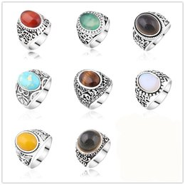 Wholesale ring silver turquoise men - Vintage Style Natural Stone Gemstone Chakra Ring Tiger Eye Turquoise Stone Rings For Women Men Jewelry