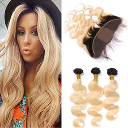 Wholesale Silk Base Top Lace Closure - Blonde Ombre Silk Base Full Lace Closure 13x4 With Weaves Wavy 3Bundles 1B 613 Two Tone Ombre Virgin Hair With Silk Top Frontal