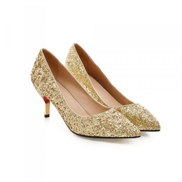 Wholesale Gold Glitter High Heels - Spring Pointed Toe Women Shoes Comfortable Middle Heel Gold Glitter Sequined Cloth Wedding Party Shoes Bridal Pumps Plus Size