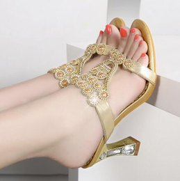 Wholesale Sexy Kitten Heel Sandals - 2017 fashion sandals wholesale summer new ladies sexy fashion bohemia gemstone beads sandals high heels