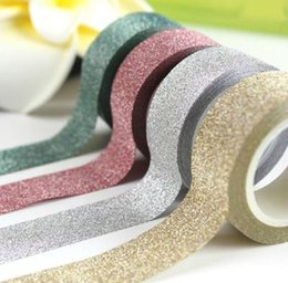 Wholesale Decor Wedding Paper - 5M DIY Self-adhesive Glitter Washi Paper Tape Sticker Wedding Birthday Festival Decoration Home Decor