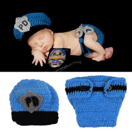 Wholesale Popular Boy Photo - Baby Boy outfits Popular Crochet Newborn Photography outfits Baby Police Outfit Hat Knitted Photo Props Infant Costume boys clothing sets