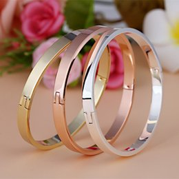 Wholesale Men Wholesale Gold Steel Jewelry - Hot Selling Brand New Lovers Smooth Surface Bangle Titanium Steel Bracelets Buckle Fashion Trendy Jewelry Women Men Nice Gift 6Pcs Lot