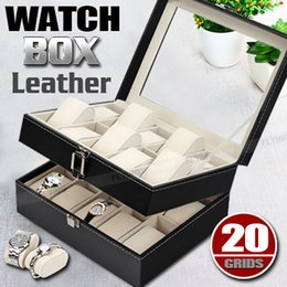 Wholesale Display Showcase Jewelry - Leather Watch Jewelry Display 20 Grids Storage Holder Organizer Showcase Box OZ